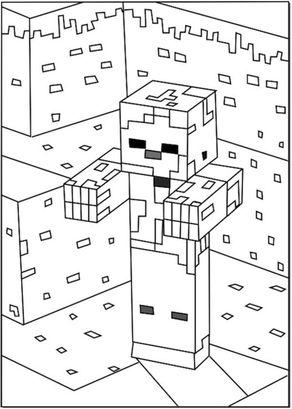 Minecraft Zombie Coloring Pages 550x768 Picture Minecraft