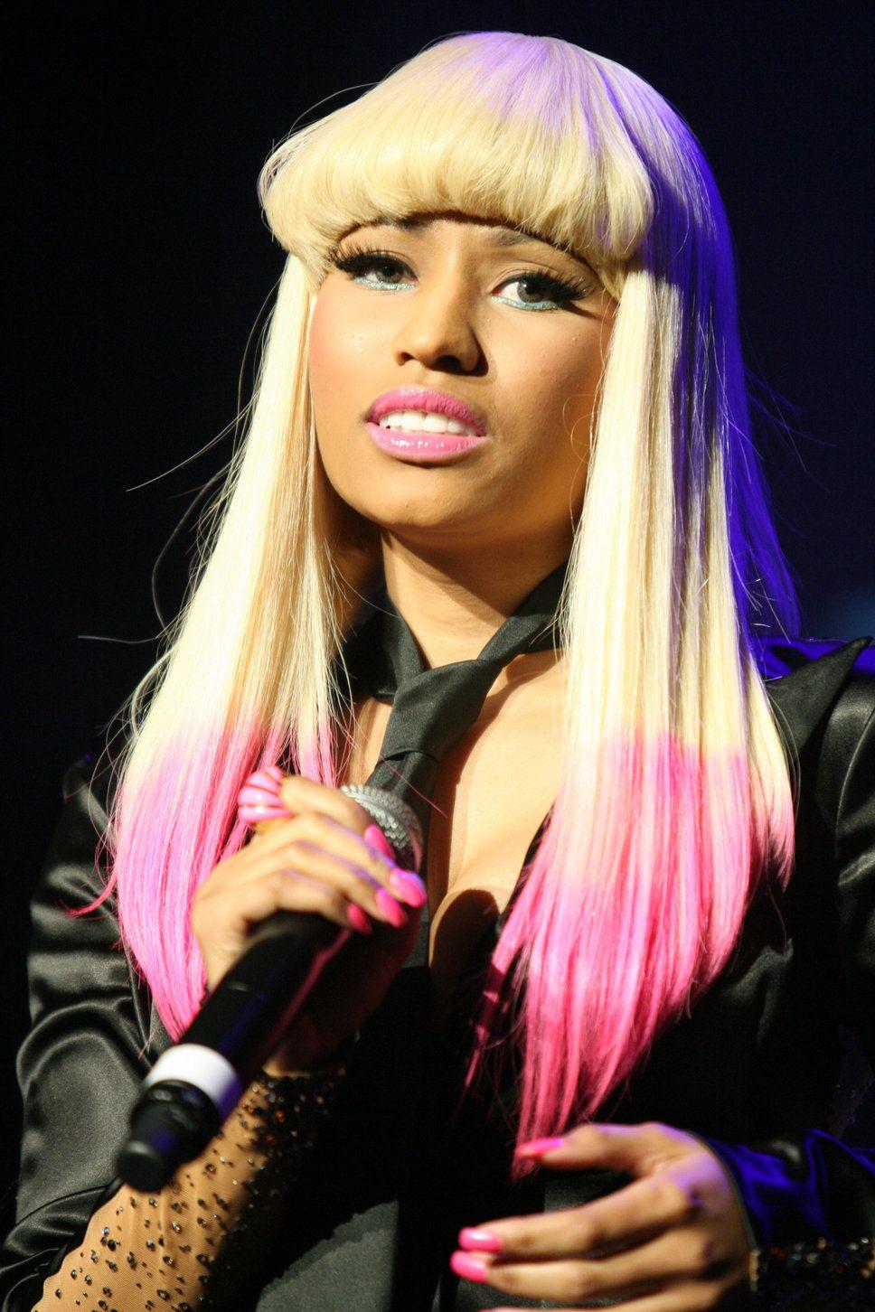 Nicki Minaj Dip Dye Pink And Blonde Hair Bangs Dip Dye Hair Dip
