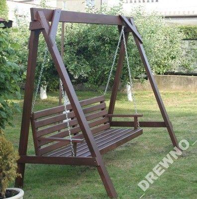 Hustawka Ogrodowa Drewniana 2 Osobowa Naturalna 6283611934 Oficjalne Archiwum Allegro Diy Garden Furniture Diy Porch Swing Garden Swing Seat