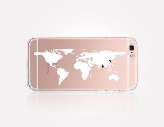 iphone 6 coque carte du monde   Iphone transparent case, Phone ...