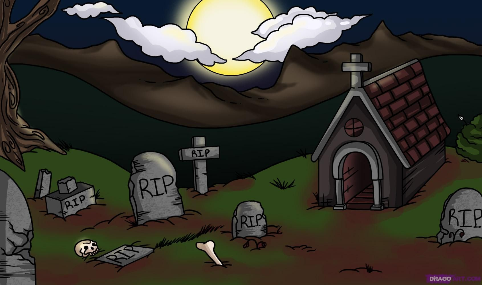 how to draw a graveyard