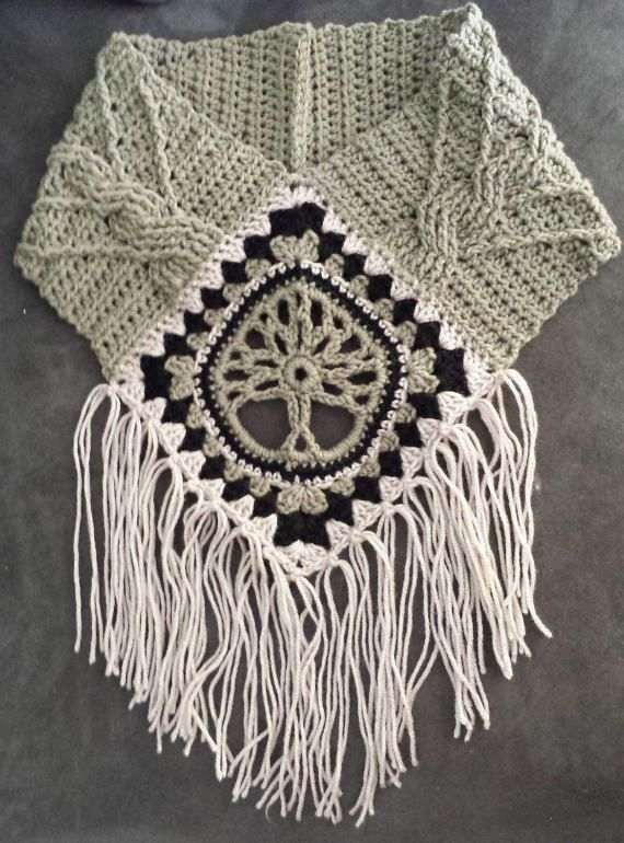 Tree of Life Fringed Cowl Crochet pattern with cables, cabled ...