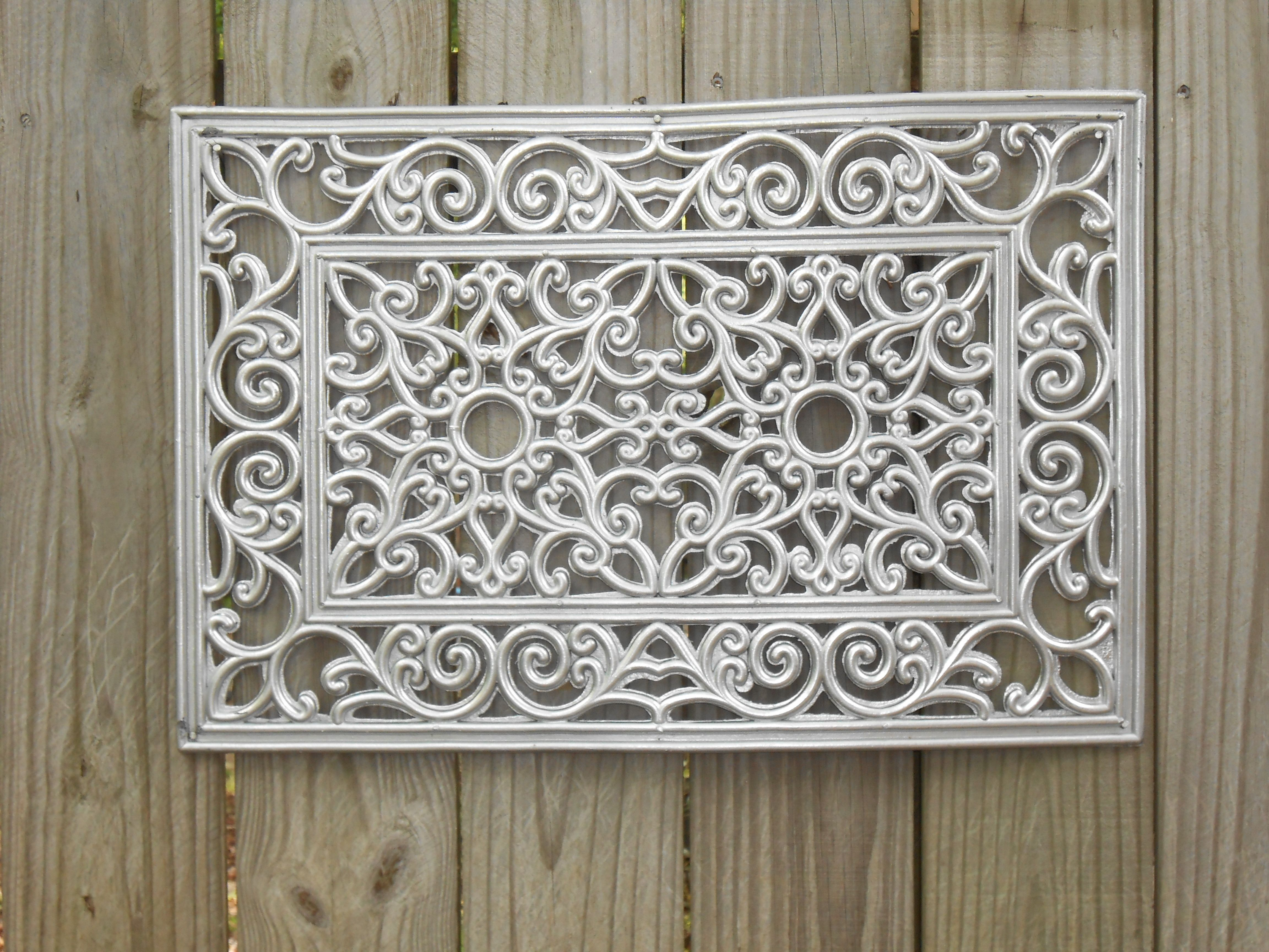 Rubber mats garden -  5 Black Rubber Door Mat Spray Painted With Silver Metal Finish Paint Fence Art