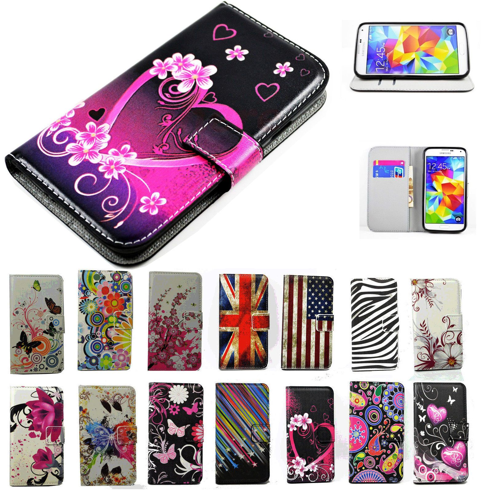 Women Wallet Slot Pu Leather Case Cell Phone Flip Cover Stand For Samsung Galaxy Ebay Leather Phone Case Leather Fold Wallet Leather Case