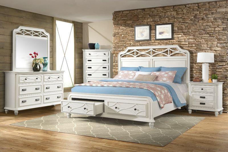 Mystic Bay Storage Bedroom Set In White Bedroom Sets Furniture