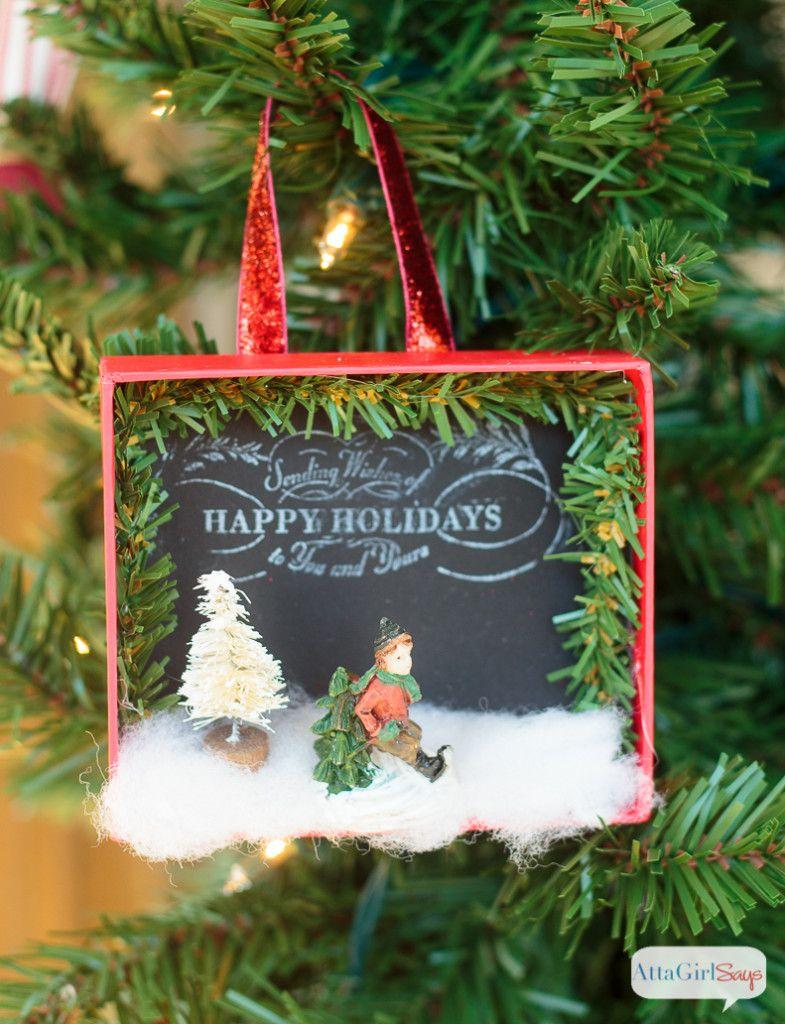 Shadowbox DIY Christmas Ornaments Pottery Barn Knockoff