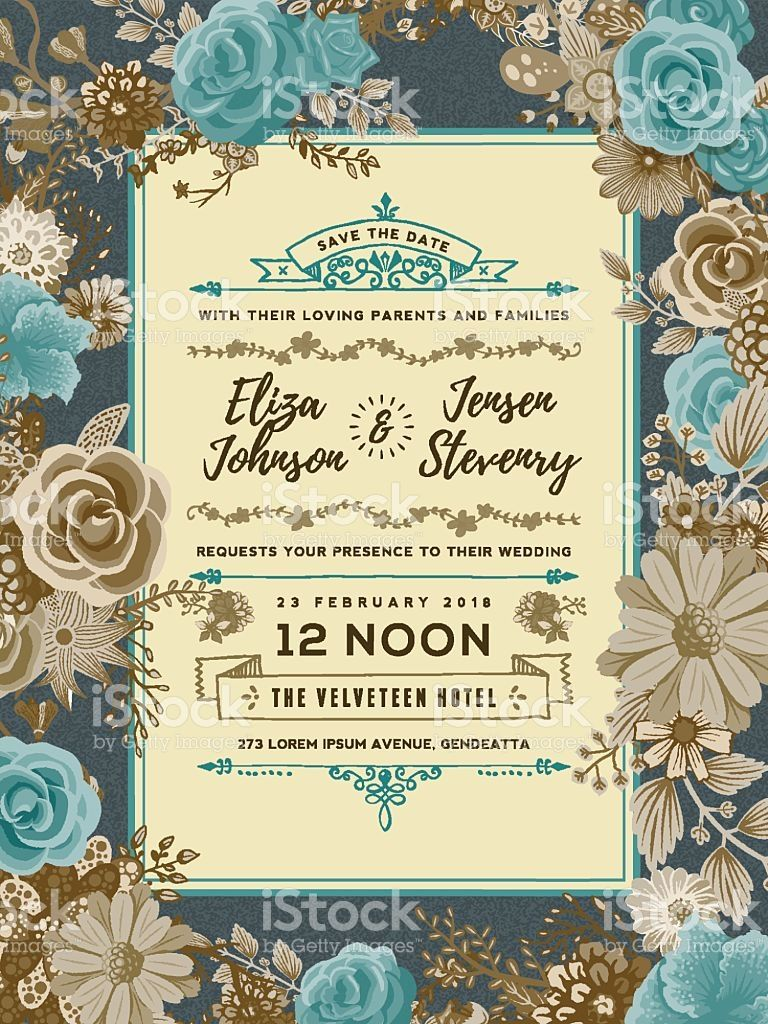 Floral Wedding Invitation Template royalty-free stock vector art