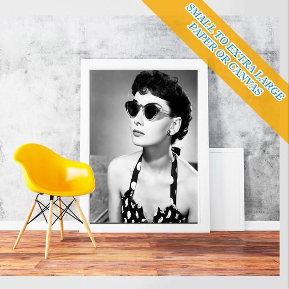 Audrey Hepburn glasses - Classic Art Print Poster Rolled  Hollywood's Golden Age style Wall Art Black & white romantic films Photo #hollywoodgoldenage