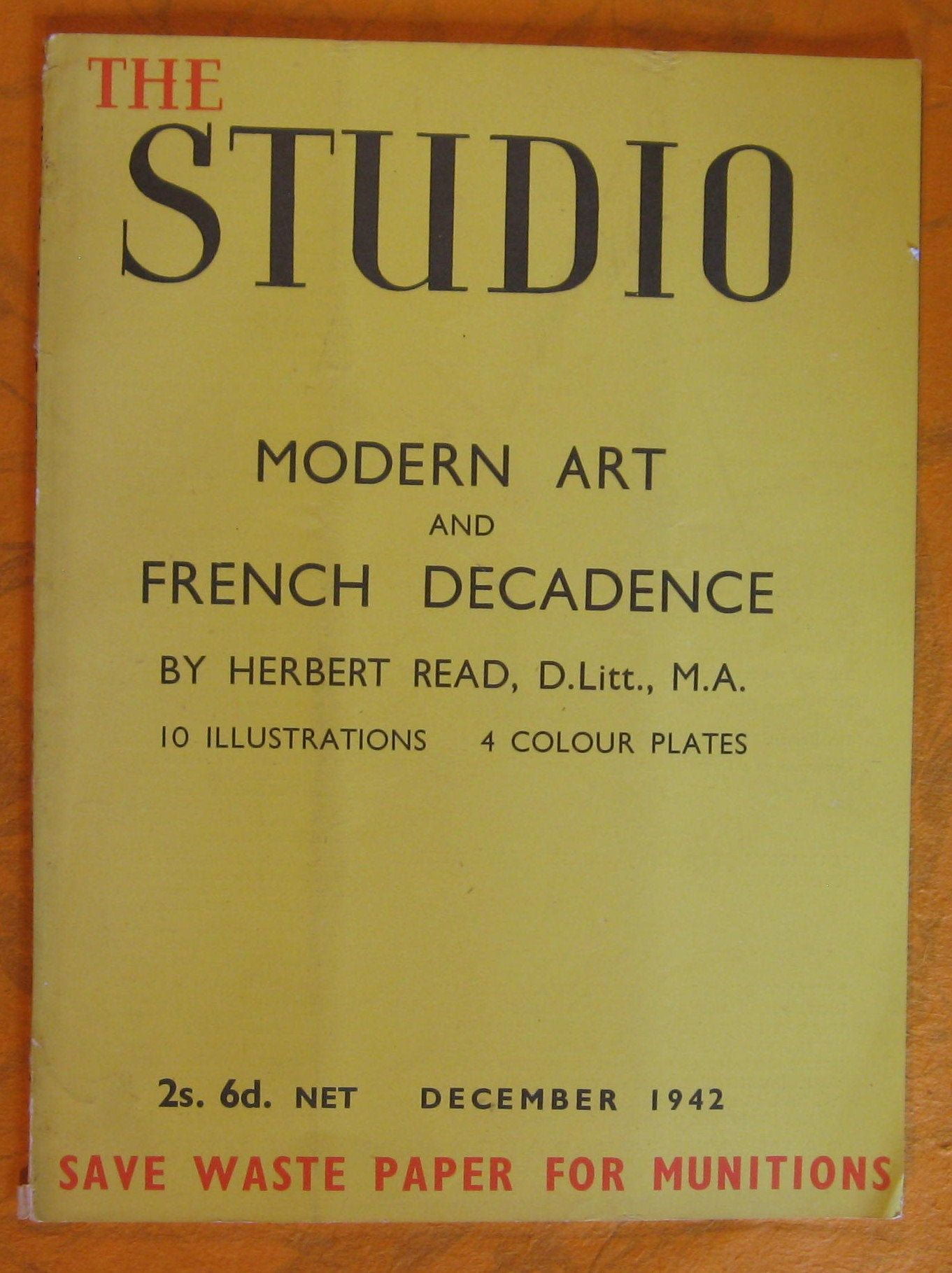 The Studio: Modern Art and French Decadence (December, 1942) by Herbert Read by Pistilbooks on Etsy