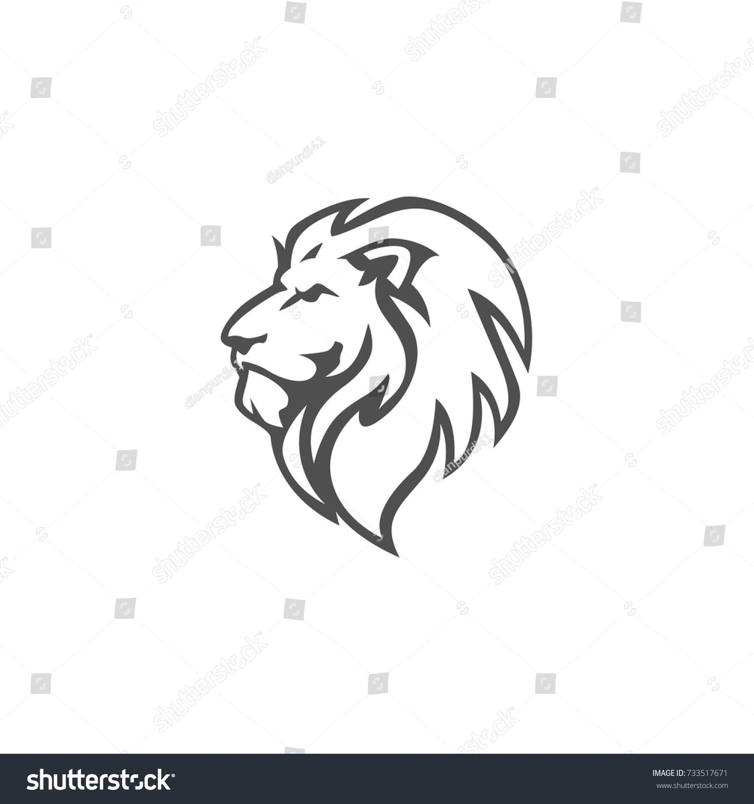 Angry, Roar Lion Head, Black And White, Vector Logo Design