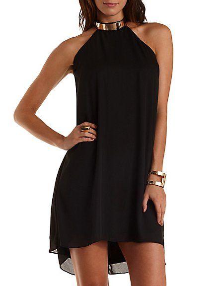 247169dbeecf0 Gold-Banded Halter Shift Dress: Charlotte Russe #dress | Charlotte ...