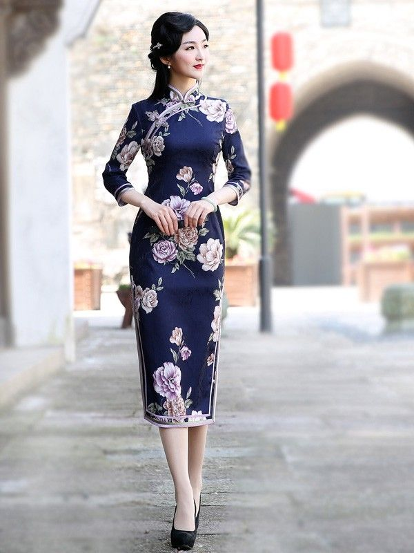 Blue Fl Tea Length Qipao Cheongsam Dress
