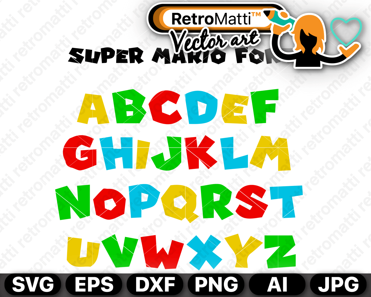 Super Mario Font SVG in 2020 Super mario, Super mario