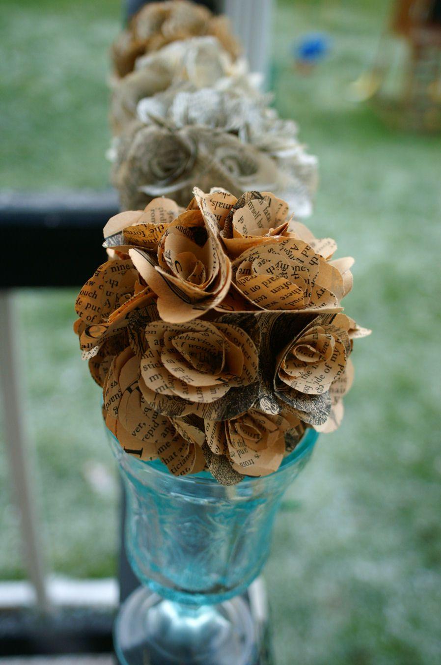 Handmade wedding decorations paper  Rosette Pomanders  Upcycled Paper Kissing Balls handmade