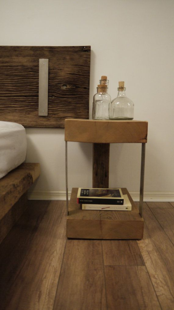 Reclaimed Wood and Metal Bedside Table. Modern Rustic Furniture