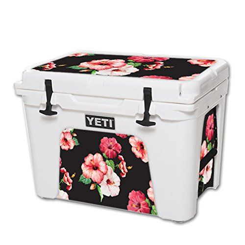 MightySkins Protective Vinyl Skin Decal for YETI Tundra 50 qt Cooler wrap cover sticker skins Hibiscus ** See this great product.(This is an Amazon affiliate link and I receive a commission for the sales)