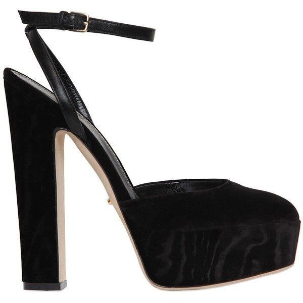 Sergio Rossi Women 140mm Crisscrossing Moirè Velvet Sandals (£585) ❤ liked on Polyvore featuring shoes, sandals, black, black platform sandals, platform shoes, black platform shoes, black velvet shoes and black criss cross sandals