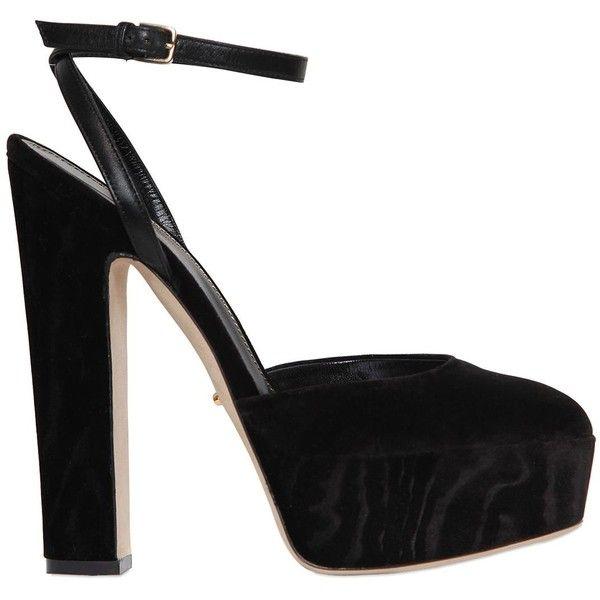 Sergio Rossi Women 140mm Crisscrossing Moirè Velvet Sandals (2.970 NOK) ❤ liked on Polyvore featuring shoes, sandals, heels, pumps, black, black platform shoes, criss cross sandals, black heeled shoes, criss-cross sandals and high heels sandals
