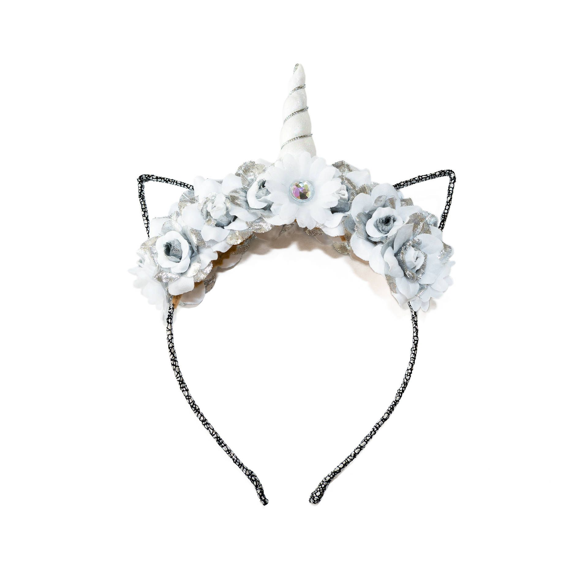 White silver mewnicorn cat ear headband floral cat ears kitty ears white silver mewnicorn cat ear headband floral cat ears kitty ears headband unicorn izmirmasajfo Image collections