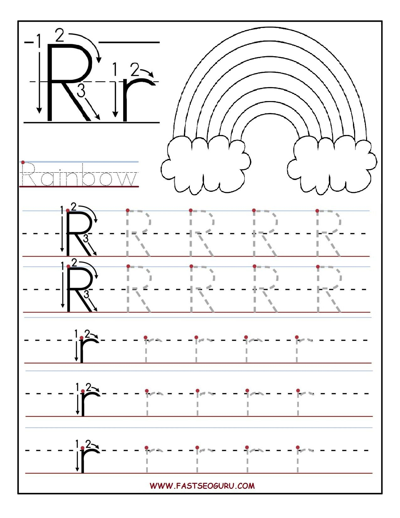 Printable Letter R Tracing Worksheets For Preschool  Summer