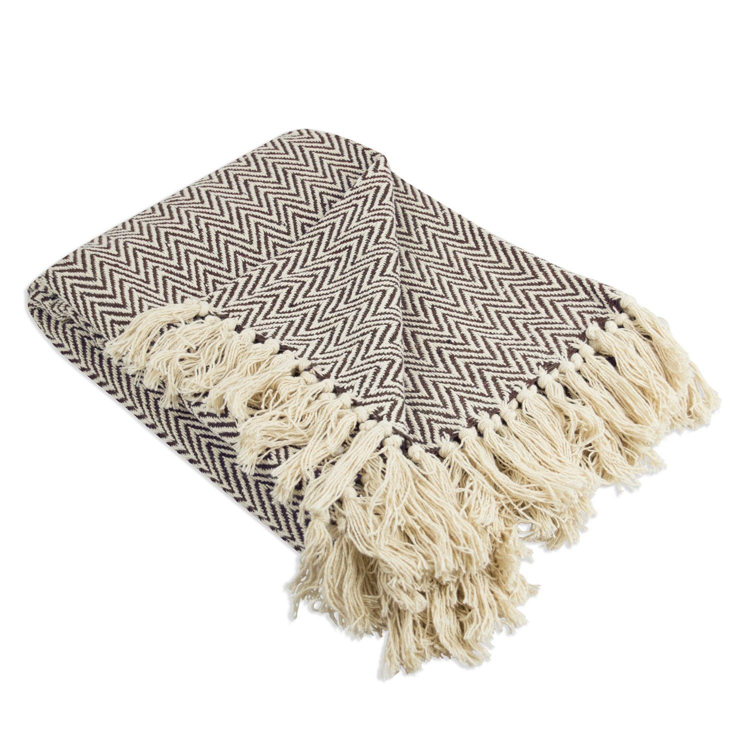 DII Rustic Farmhouse Cotton Chevron Blanket Throw with Fringe For Chair Couch,