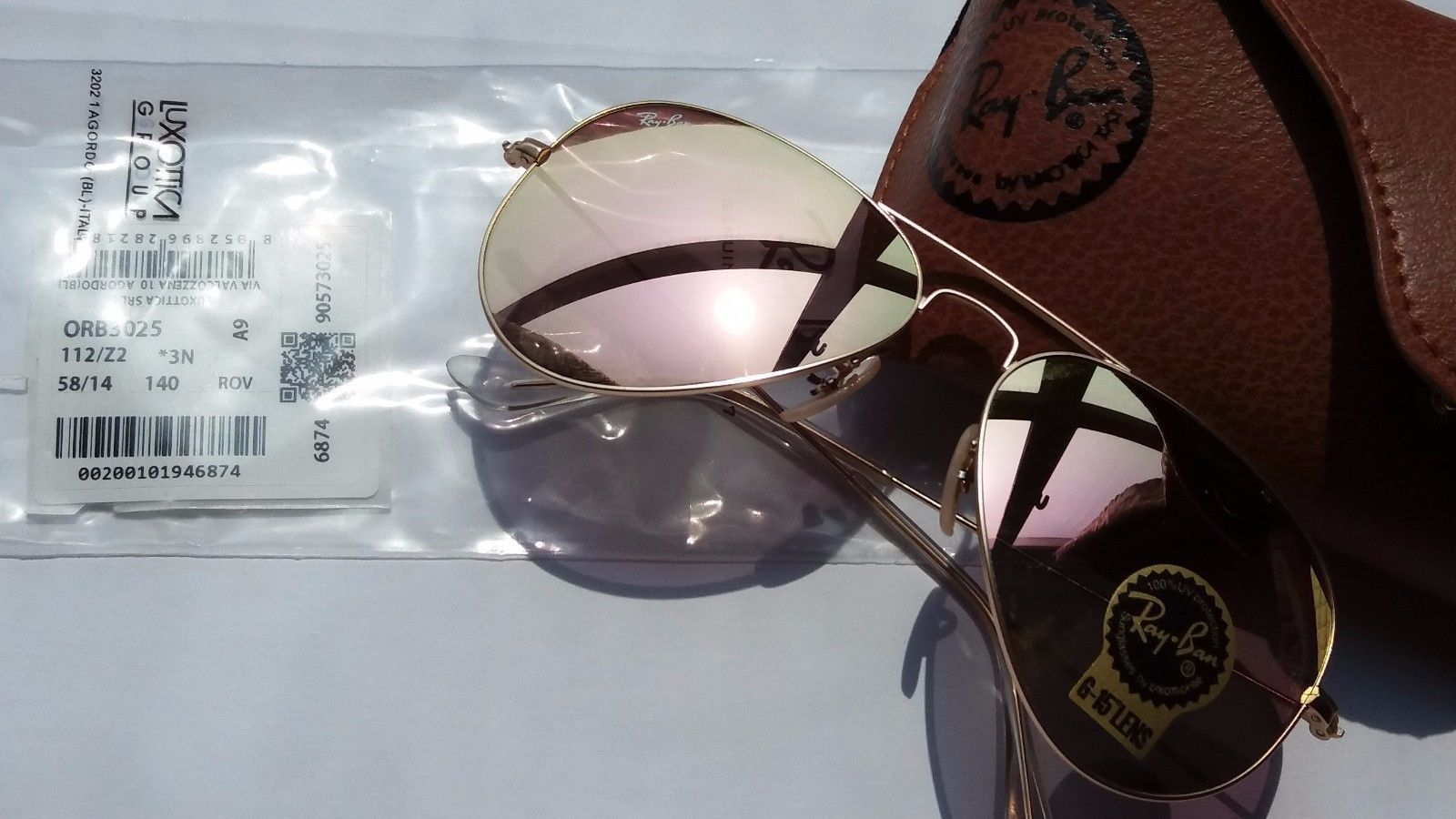 Ray Ban Aviator Sunglasses RB3025 Matte Gold 112/z2 pink Mirror 58mm ...
