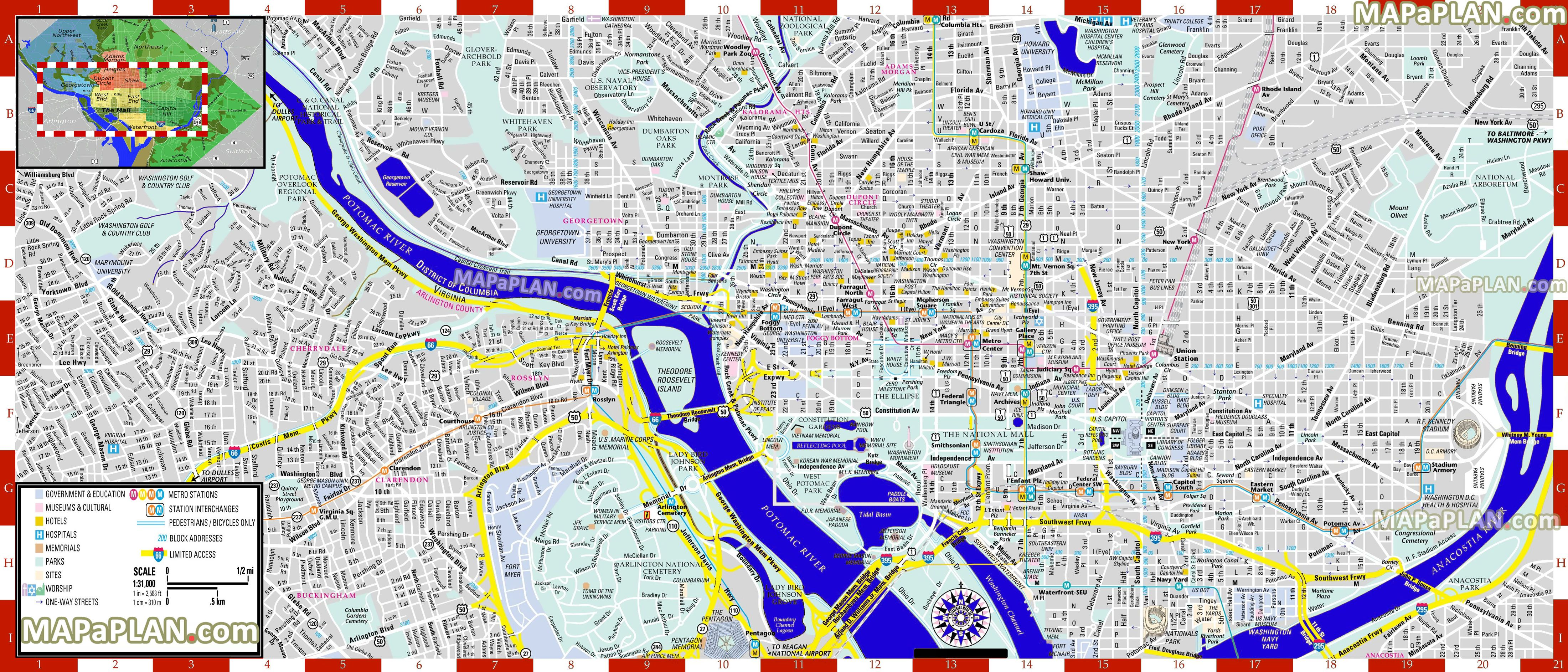 Inner City Centre Detailed Street Travel Guide Must See Places - Map of washington cities
