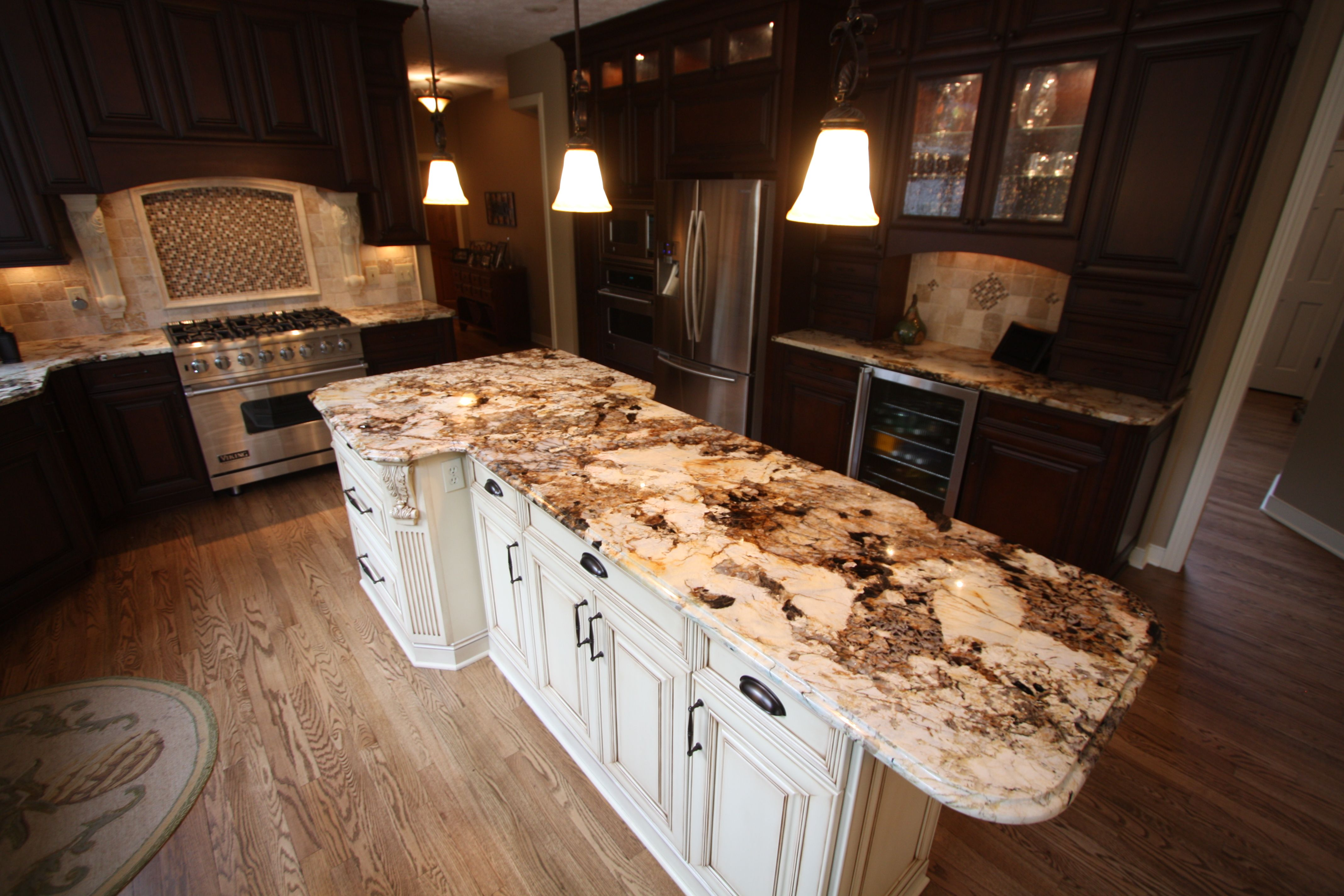 Unusual Granite Countertops : Crystal white island bench check out the extra bit of