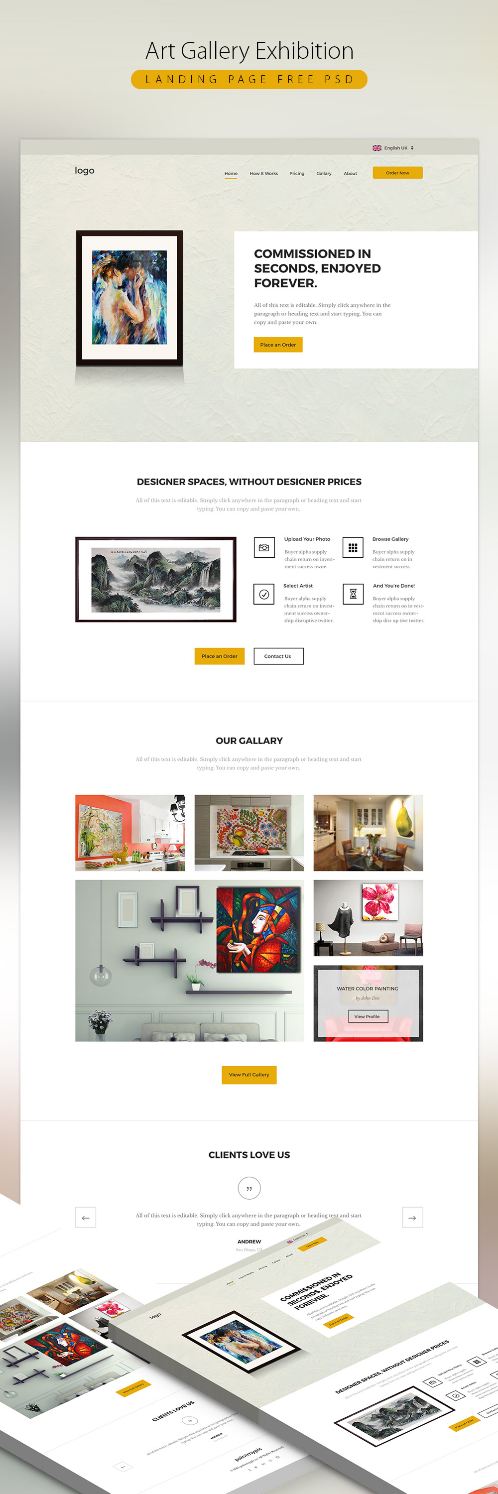 Cool Art Gallery Exhibition Landing page Free PSD. Download Art ...