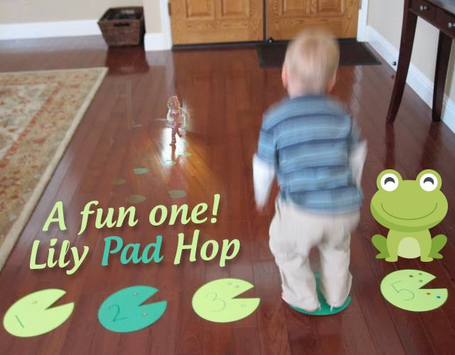 Learning is way more fun when it is hands on and active! FunActivity at home Lily Pad Hop.An Exercises to Help with a Toddler Speech Delay.Make your child hop to each one. #funactivity #speechdelayexcercise #lilypadhop #learning