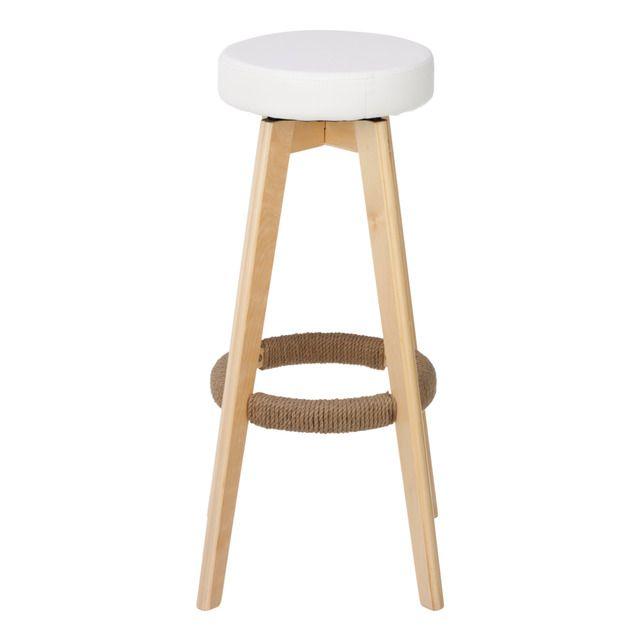 Taburete de madera con asiento giratorio tapizado en - Taburete madera bar ...