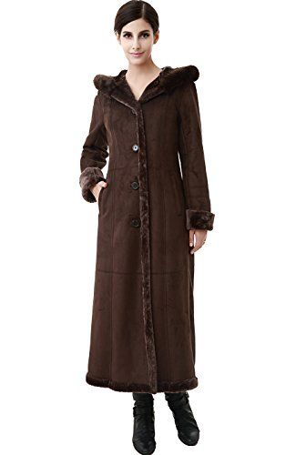 BGSD Women's Faux Shearling Long Coat with Faux Fur Trimmed Hood ...