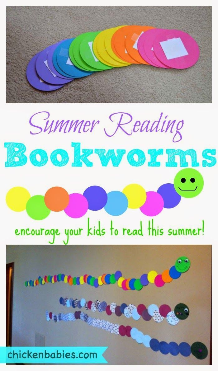 Each time a book is read, the child gets to add a circle to their bookworm! Fun idea to get kids reading this summer.