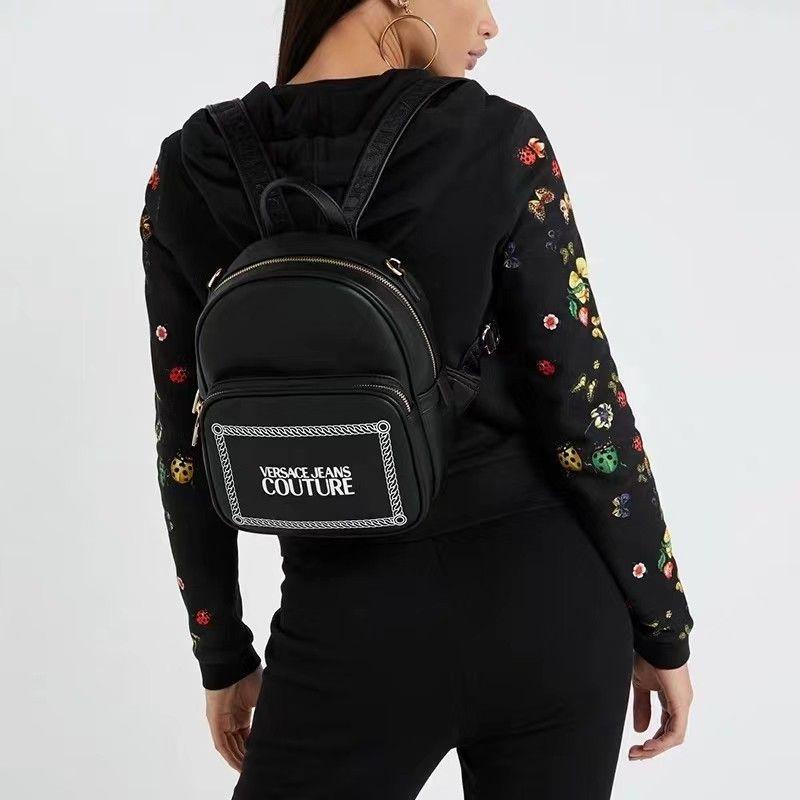 Versace Leather Backpacks Womens Shoulder Chain School Bags Black Versace Branded Handbags Leather Backpack