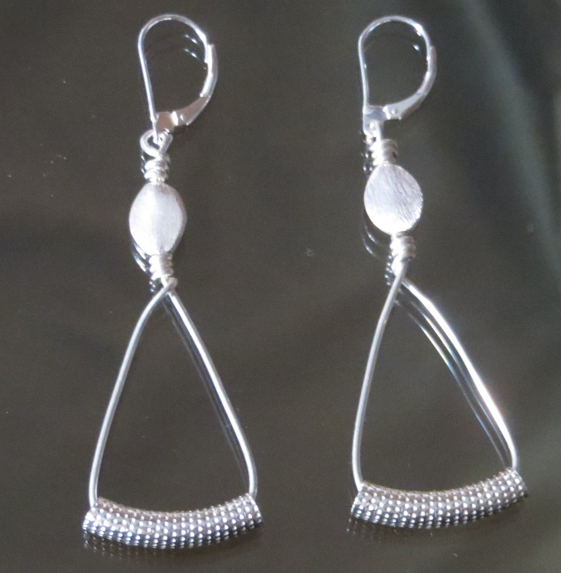 Sterling silver 18 gage wire with flat oval brushed silver beads and ...