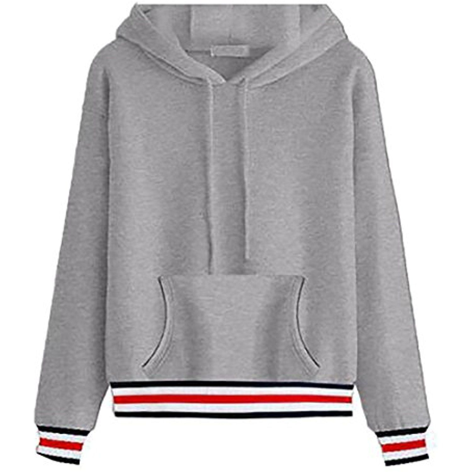 deed52ecf7c Womens Casual Long Sleeve Fleece Hooded Pullover Sweatshirts -- For more  information