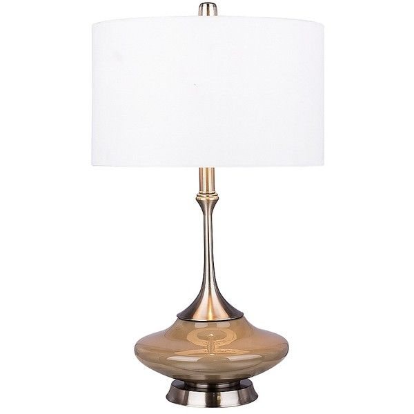 Retro Gray Glass Table Lamp (6,055 PHP) ❤ Liked On Polyvore Featuring Home,