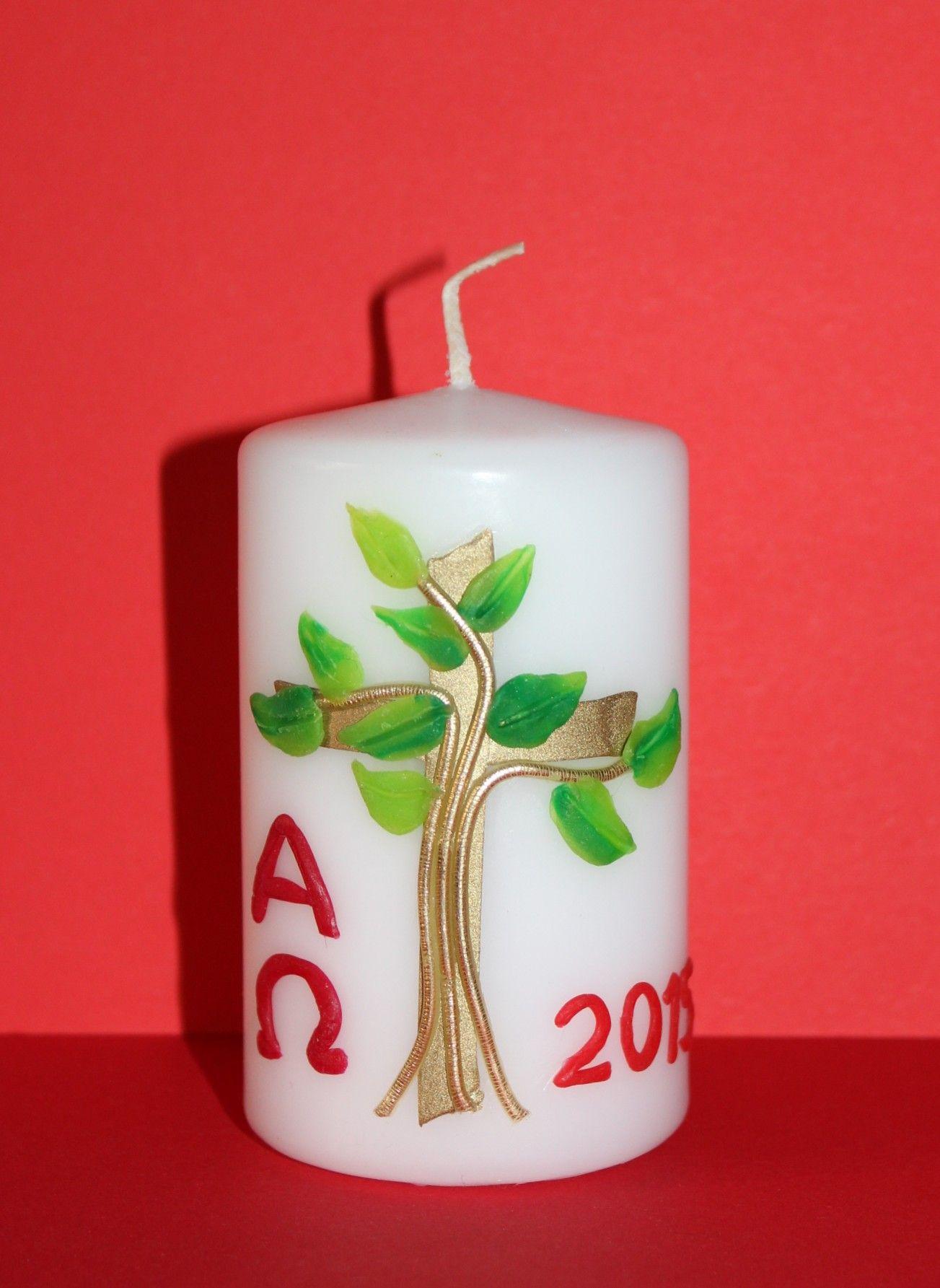 Osterkerze Baum   Ostern   Pillar candles, Easter und Candles