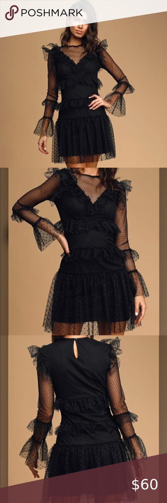 Black Swiss Dot Mesh Ruffled Mini Dress Sheer Mesh Overlay Swiss Dot Pattern Victorian Inspired Dress With A Rounded Neckli Inspired Dress Mini Dress Dresses [ 1740 x 580 Pixel ]