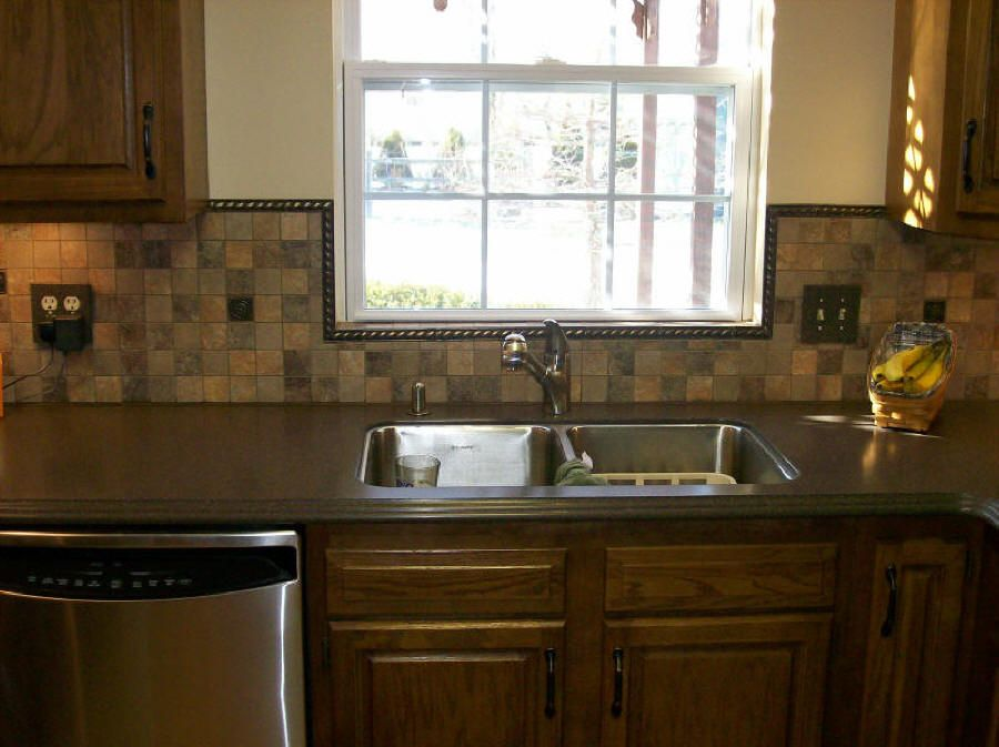 Fabulous Slate Mosaic Backsplash Ideas And Wooden Style Kitchen Cabinet