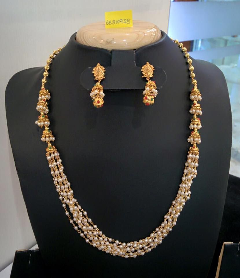 Indian Gold Jewellery Necklace Sets Google Search: Multi-layer Pearl Necklace With Jhumka