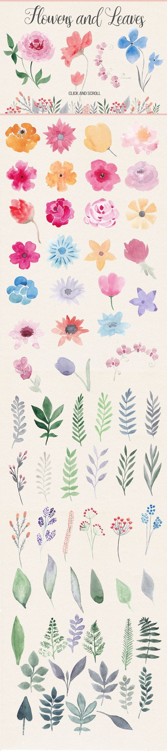 This pack contains more than 40 watercolor flowers, about 40 floral elements (leaves, branches), 5 watercolor bouquets, 12 decorative borders, 20 hand-painted yellow banners/ribbons, 6