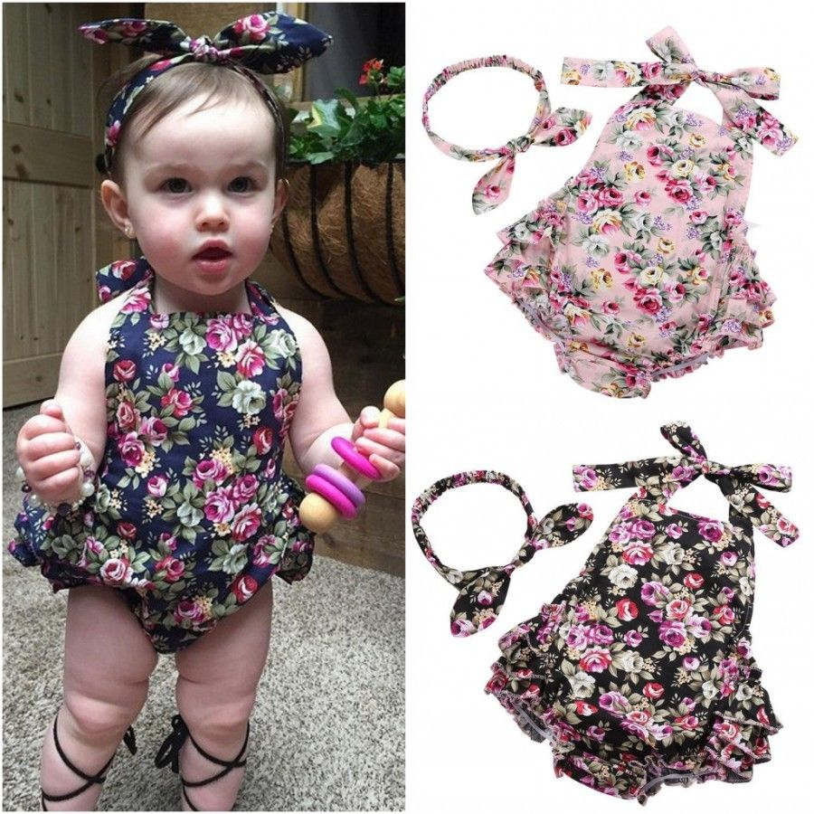 Newborn Baby Girl Ruffle Romper Overalls Bodysuit Sunsuit Outfits Clothes Summer