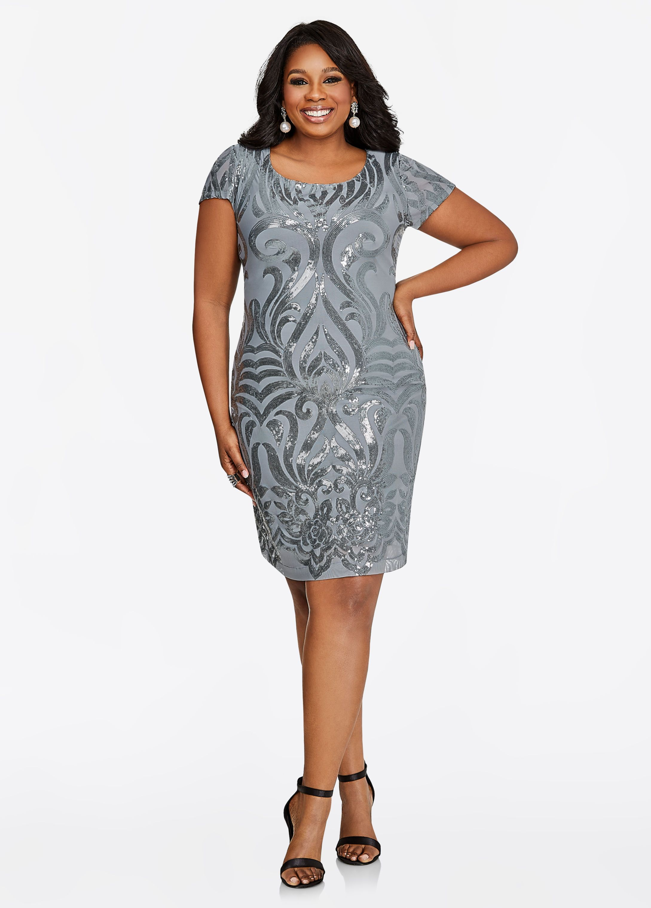 Short Sleeve Filigree Sequin Dress | Plus size party dresses ...