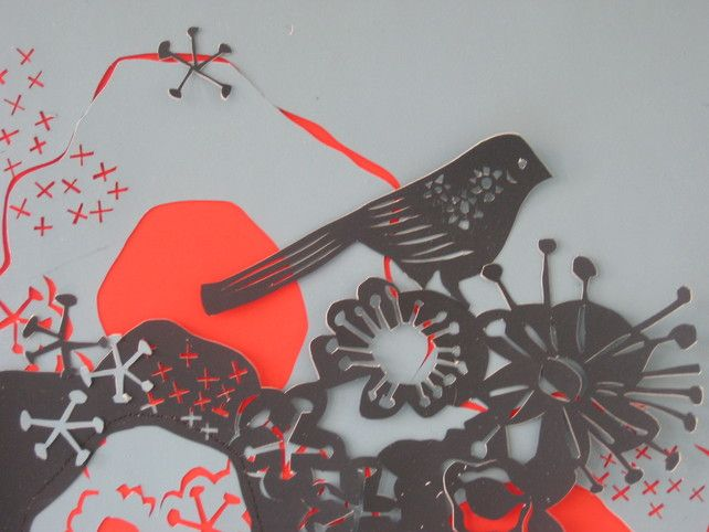 Blue Bird Papercut by Eileen White