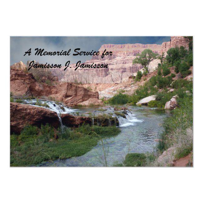 Memorial Service Invitation Unspoiled Waterfalls Invitation