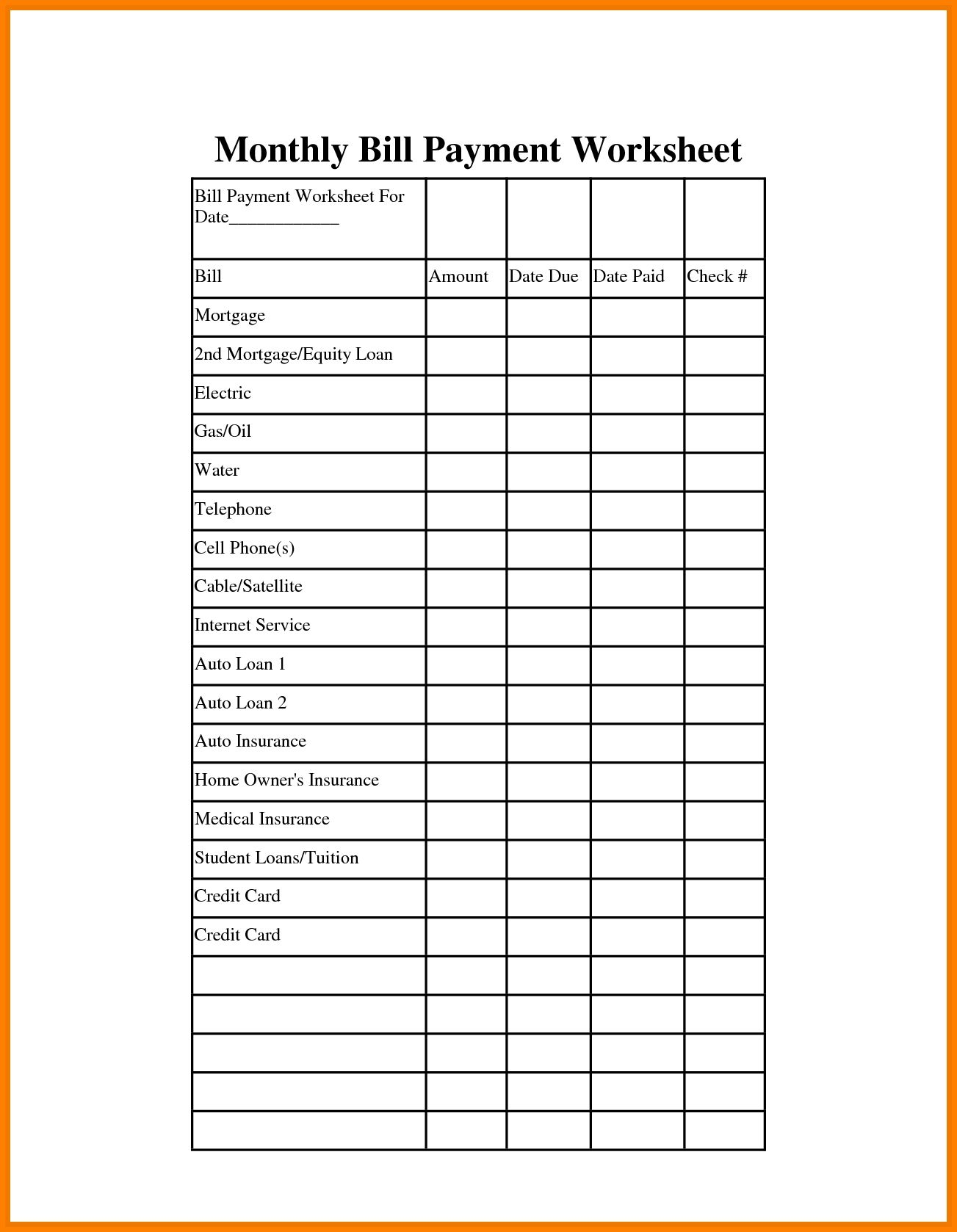 Catch Printable Blank Paying Bills Organizer With Images