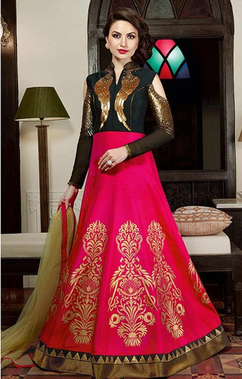 b821e41354 pink designer latest gown LATEST DESIGNER HOT PINK KALIDAR GOWN WITH SEQUIN  WORK