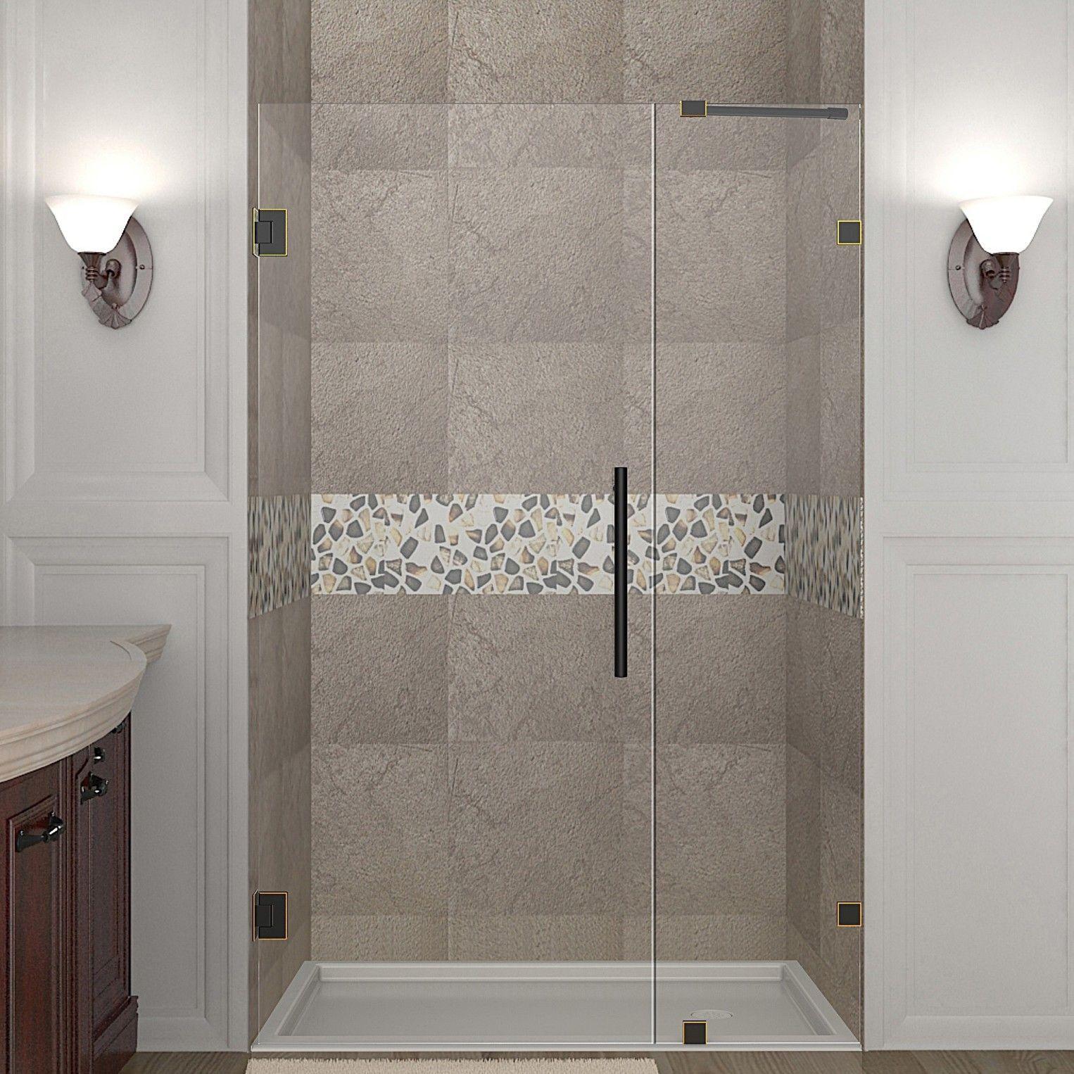 Nautis 72 X 35 Hinged Frameless Shower Door Shower Doors