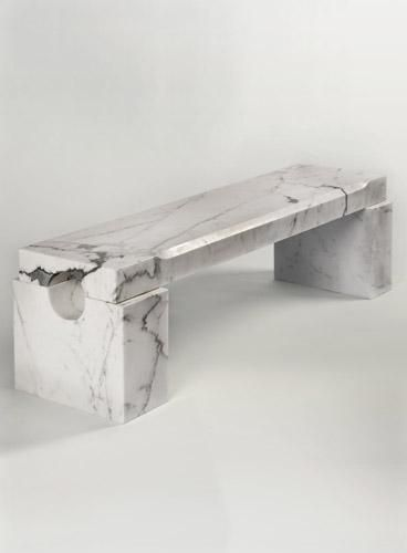 "Magni Home The ""Athens"" Bench has a refined character due to its beveled edges and honed finish."